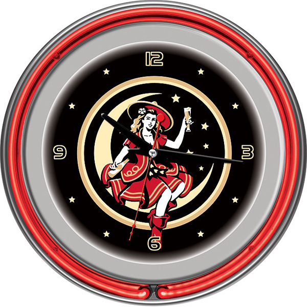 Miller High Life Neon Wall Clock FREE SHIPPING - Lady In Moon