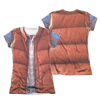 Back To The Future Marty McFly Vest Costume Sublimation Juniors Tee Shirt