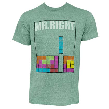 Tetris Men's Green Mr. Right T-Shirt
