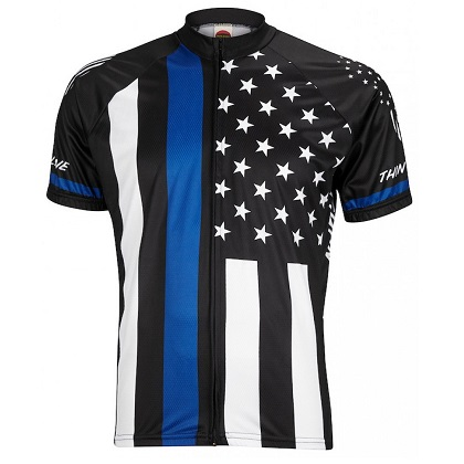 Thin Blue Line Skull Patriotic Cycling Jersey