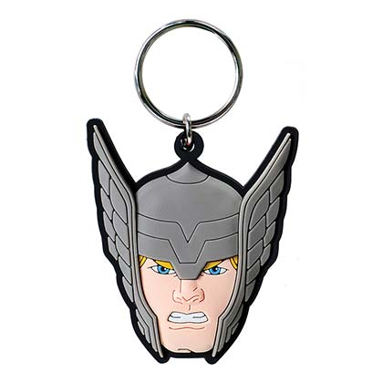 Thor Comic Rubber Face Keychain