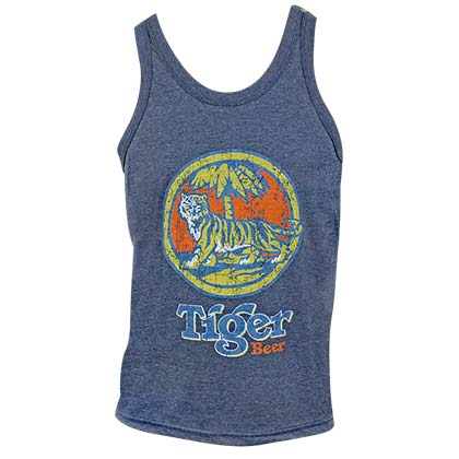 Tiger Beer Distressed Logo Denim Blue Men's Tank Top