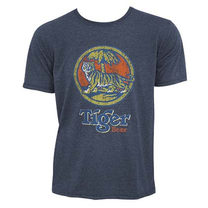 Tiger Beer Distressed Logo Denim Blue Tee Shirt