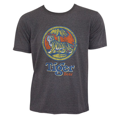 Tiger Beer Vintage Logo Gray Tee Shirt