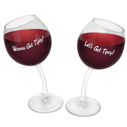 Let's Get Tipsy Set Of Two Bent Wine Glasses