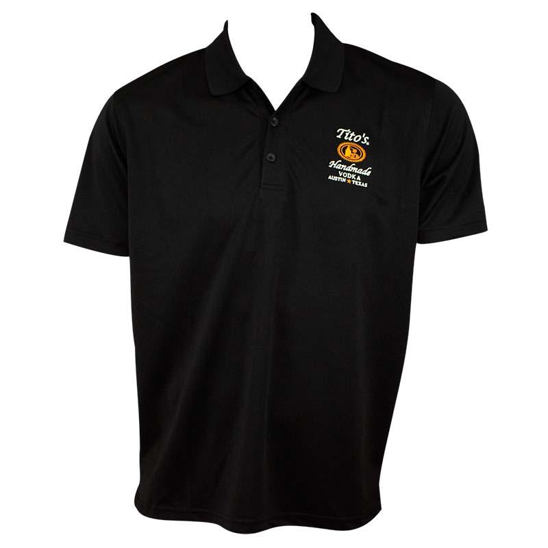 Tito 39 s vodka men 39 s black polo shirt for Amazon logo polo shirts