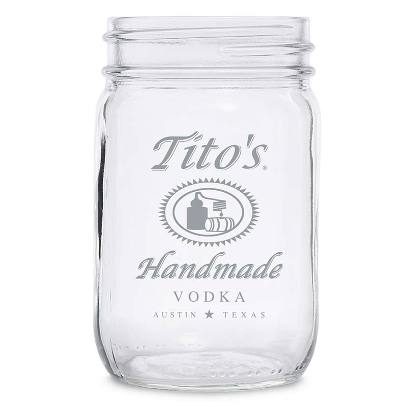 Tito's Vodka 12oz Mason Jar Glass