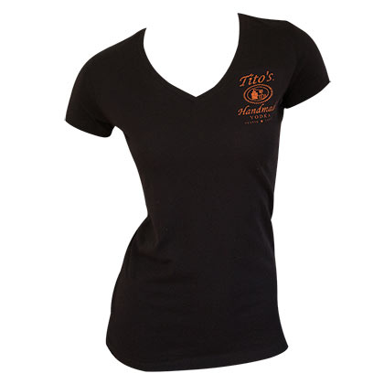 Tito's Vodka Black Women's V Neck T-Shirt