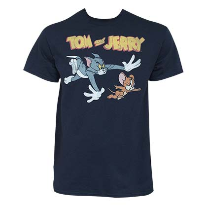 Tom And Jerry Men's Navy Blue Classic T-Shirt