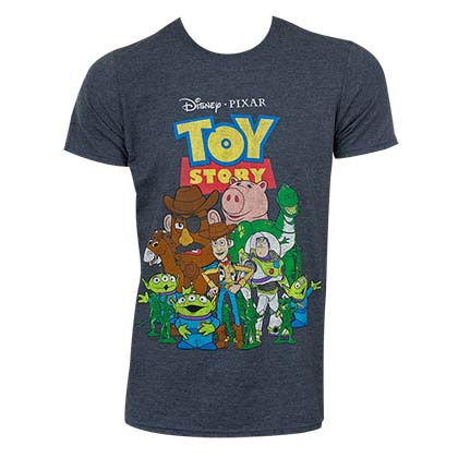 Disney Toy Story Men's Grey Group Photo T-Shirt