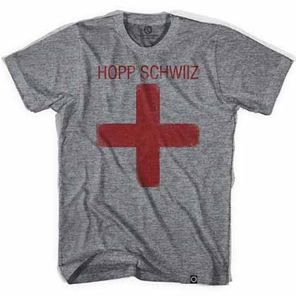 Hopp Schwiiz Cross Soccer Gray T-Shirt
