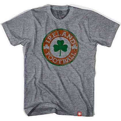 Ireland Football Clover Crest Soccer Gray T-Shirt