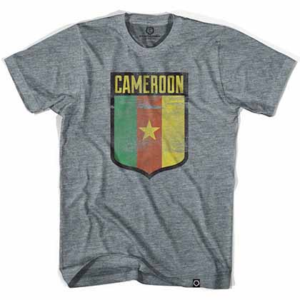 Cameroon Star Shield Soccer Gray T-Shirt