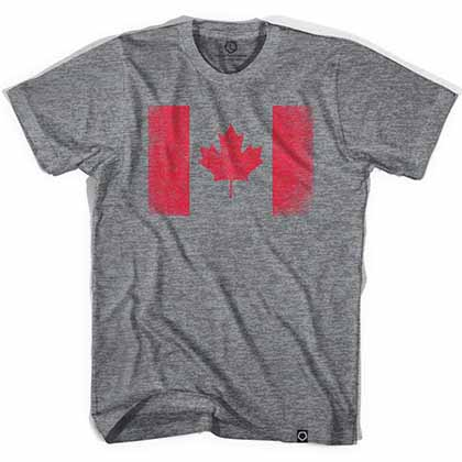 Canada Vintage Flag Soccer Gray T-Shirt