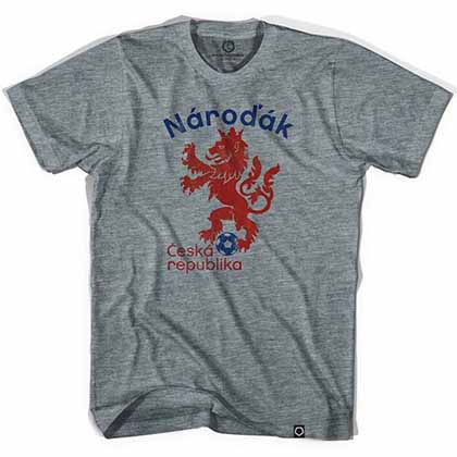 Czech Republic Narodak Lion Soccer Gray T-Shirt