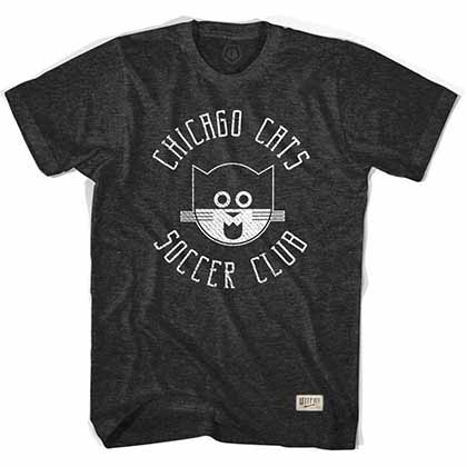Chicago Cats Black Soccer Black T-Shirt
