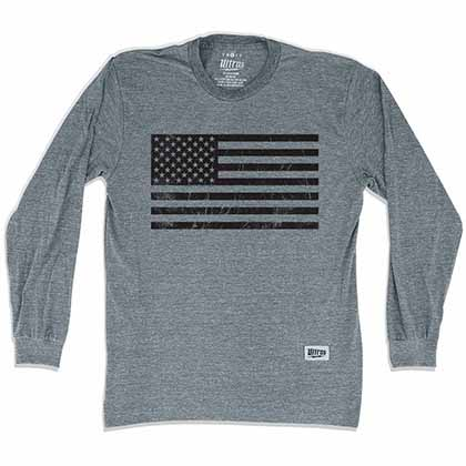 American Black Flag Soccer Long Sleeve Gray T-Shirt