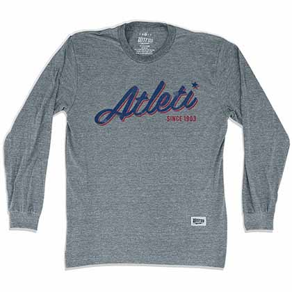 Atletico Madrid Atleti Soccer Long Sleeve Gray T-Shirt