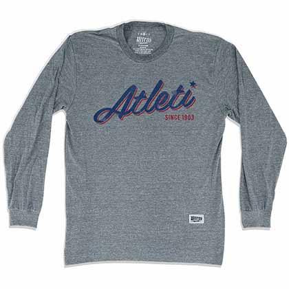 Atletico Madrid Atleti Soccer Long Sleeve Gray T-Shirt