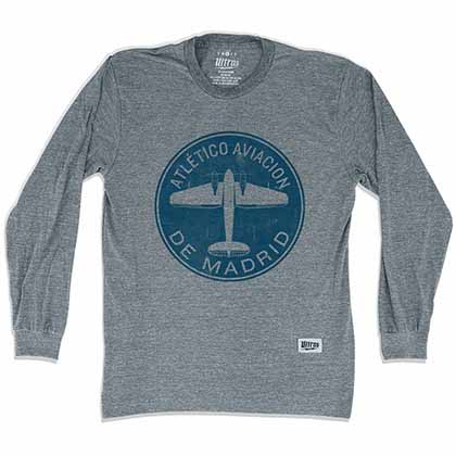 Atletico Madrid Round Plane Soccer Long Sleeve Gray T-Shirt