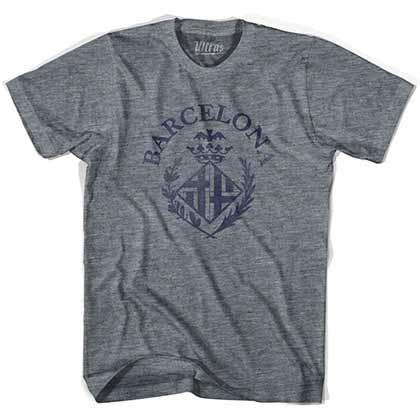 Barcelona Blaugrana Vintage Soccer Crest Gray T-Shirt
