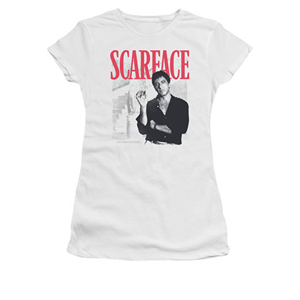 Scarface White Juniors Stairway Tee Shirt