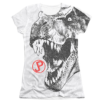 Jurassic Park Juniors White T-Rex Sublimation Tee Shirt
