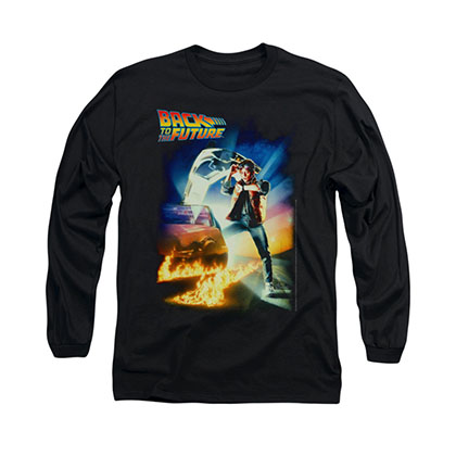 Back To The Future Poster Black Long Sleeve T-Shirt