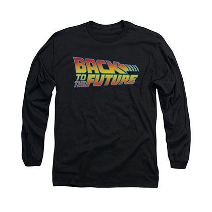 Back To The Future Logo Black Long Sleeve T-Shirt
