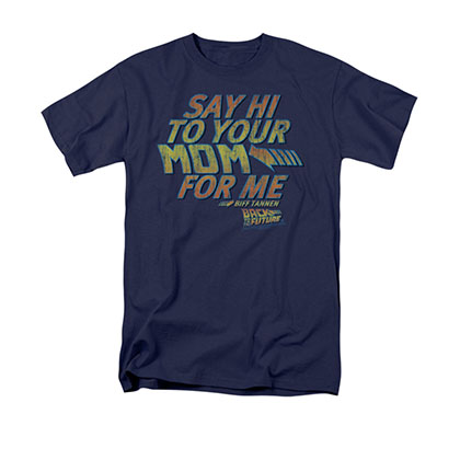 Back To The Future Men's Blue Say Hi To Your Mom Tee Shirt