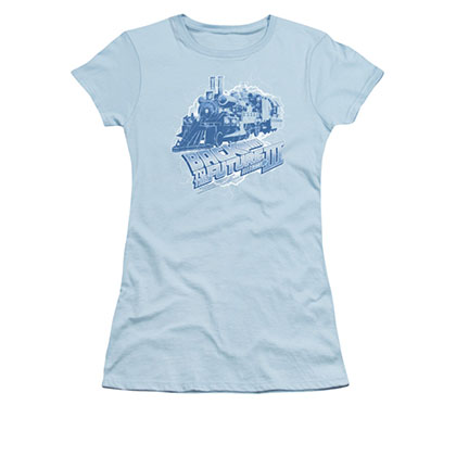 Back To The Future III Time Train Blue Juniors Tee Shirt