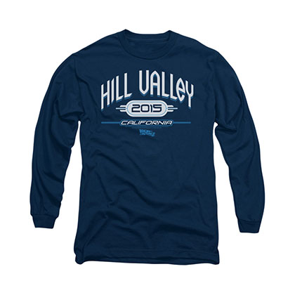 Back To The Future Hill Valley 2015 Blue Long Sleeve T-Shirt