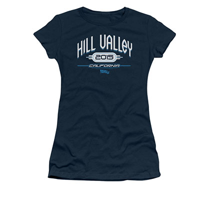 Back To The Future II Hill Valley 2015 Blue Juniors Tee Shirt