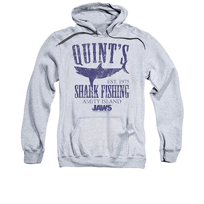Jaws Quint's Shark Fishing Gray Pullover Hoodie