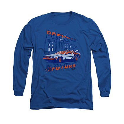 Back To The Future Lightning Blue Long Sleeve T-Shirt