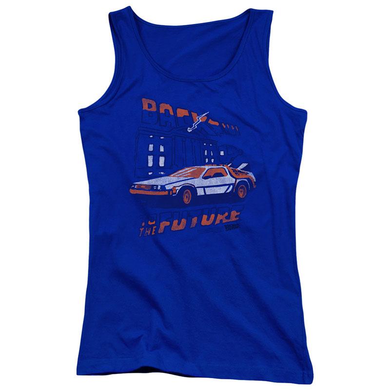 Back To The Future Lightning Strikes Blue Juniors Tank Top