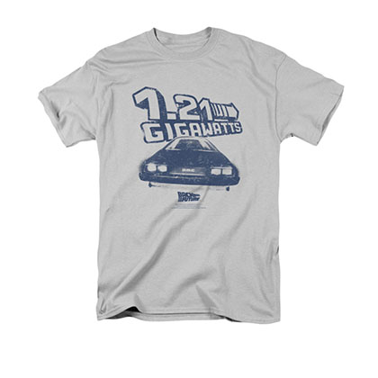 Back To The Future Men's Gray 1.21 Gigawatts Tee Shirt