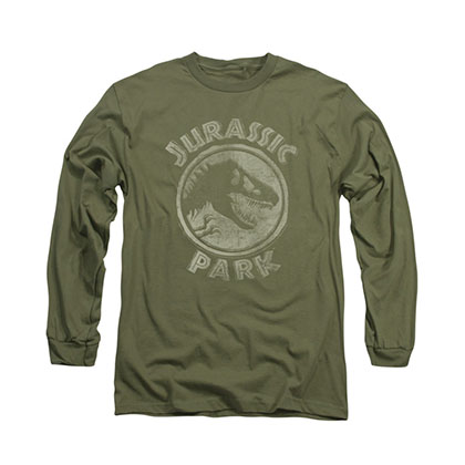 Jurassic Park Stamp Green Long Sleeve T-Shirt