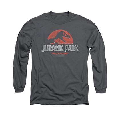Jurassic Park Faded Logo Gray Long Sleeve T-Shirt