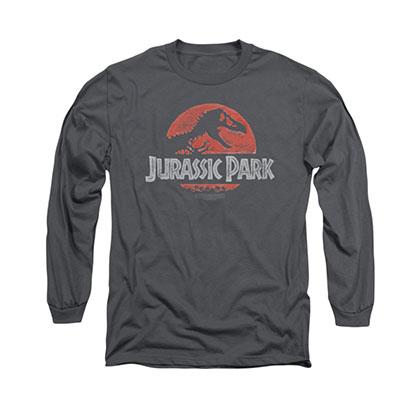 Jurassic Park Faded Logo Gray Long Sleeve T-Shirt