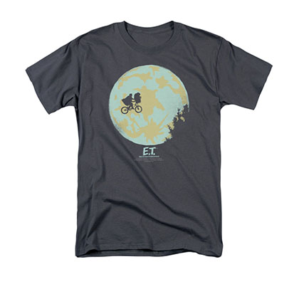 E.T. The Extra Terrestrial In The Moon Gray Tee Shirt