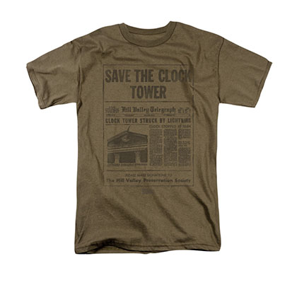 Back To The Future Save The Clock Tower Brown Tee Shirt