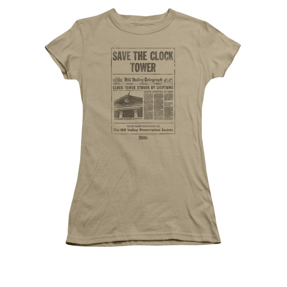Back To The Future Save The Clock Tower Juniors Brown T-Shirt