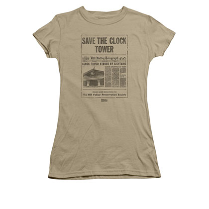 Back To The Future Juniors Brown Save The Clock Tower Tee Shirt