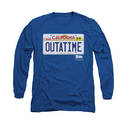 Back To The Future OUTATIME Blue Long Sleeve T-Shirt