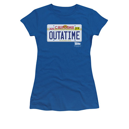 Back To The Future OUTATIME Juniors Blue License Plate Tee Shirt