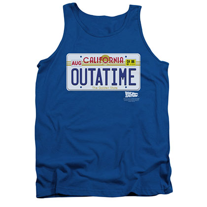Back To The Future OUTATIME License Plate Blue Tank Top