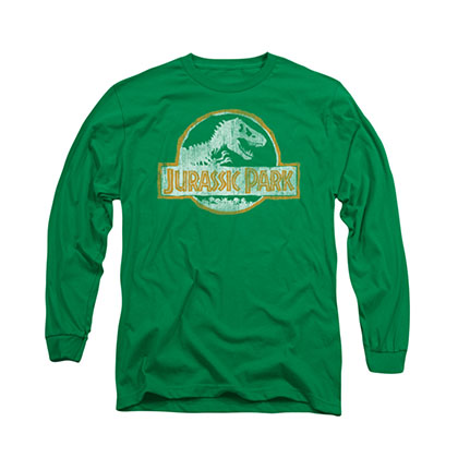 Jurassic Park Distressed Logo Green Long Sleeve T-Shirt