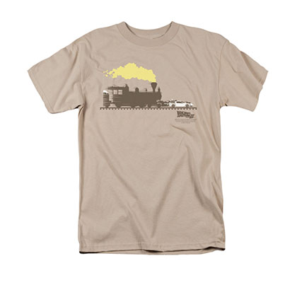Back To The Future III Men's Beige Pushing Delorean Tee Shirt