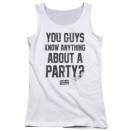 Dazed And Confused Party Time White Juniors Tank Top